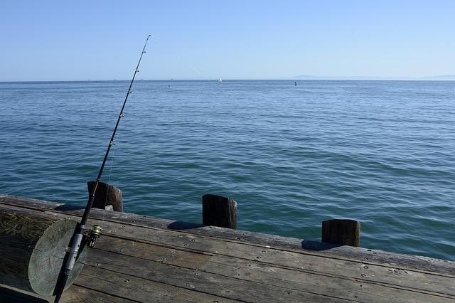 rybářský prut na molu
